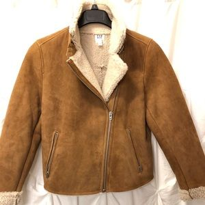 Gap Shearling Lined Tan Jacket with Zipper